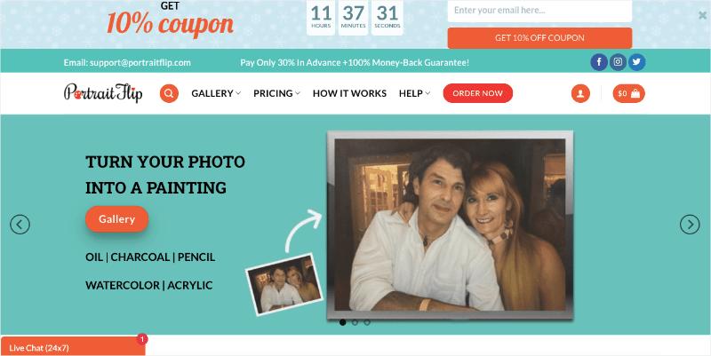 portraitflip homepage