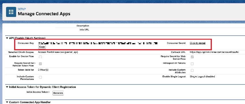 Salesforce retrieve Keys for OptinMonster integration.