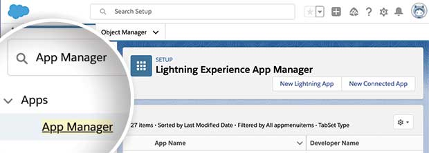 Salesforce search App Manager page