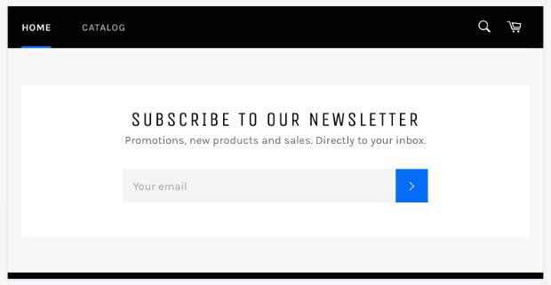 Shopify newsletter signup