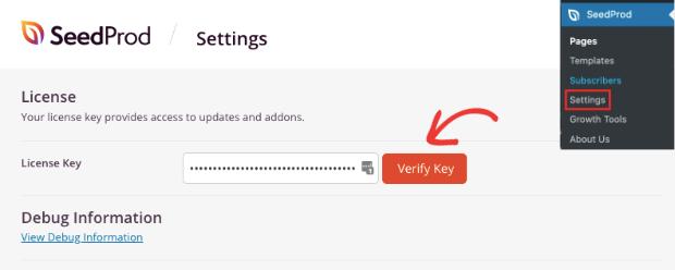 Verify license key in SeedProd