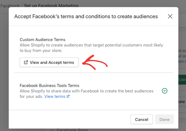 view and accept facebooks terms and conditions-min