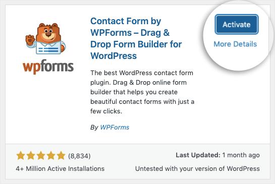 wpforms activate now