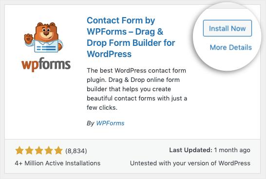 wpforms install now