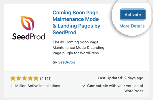 activate the seedprod plugin