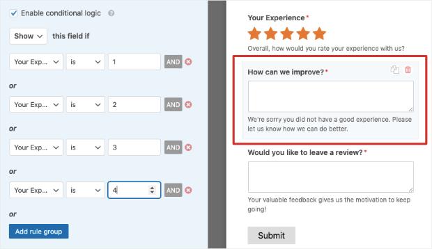 add conditional logic rules to customer feedback