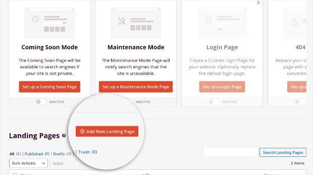 add new landing page with seedprod