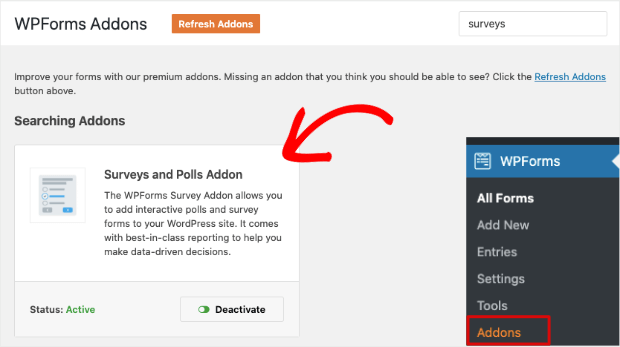 add survey and polls addons to wpforms