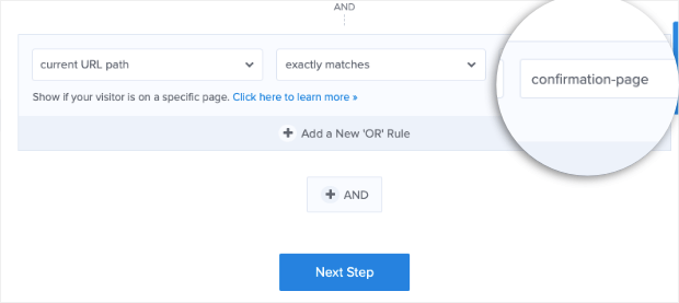 add url to confirmation page