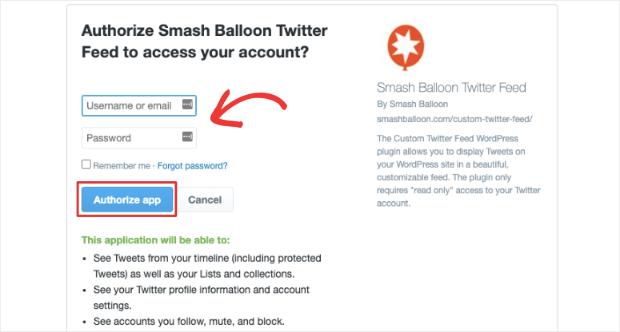 authorize app custom twitter feed smash balloon