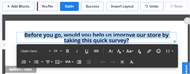 change text in exit survey popup