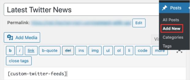 classic editor add custom twitter feed