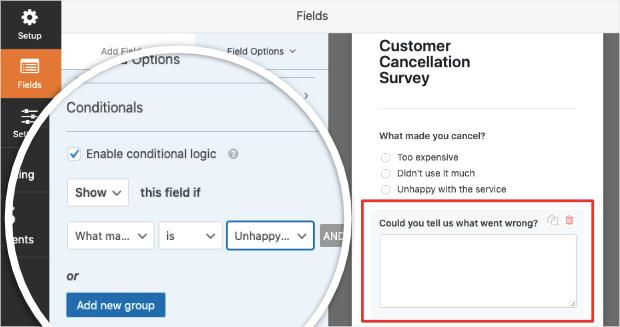 conditional logic for unhappy customer cancellation