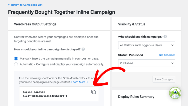 Copy shortcode for inline campaign