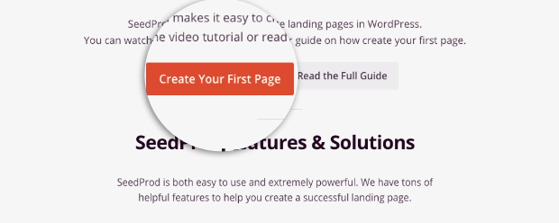 create your first seedprod page