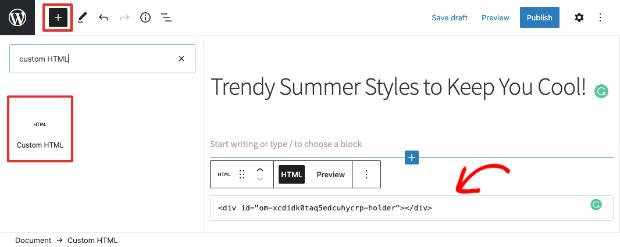 custom html in block editor