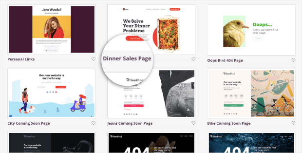 dinner sales page template