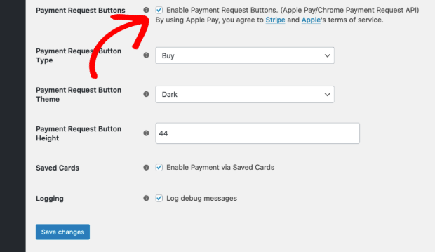 Enable buy now stripe button