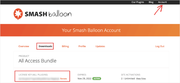 find smash balloon license key