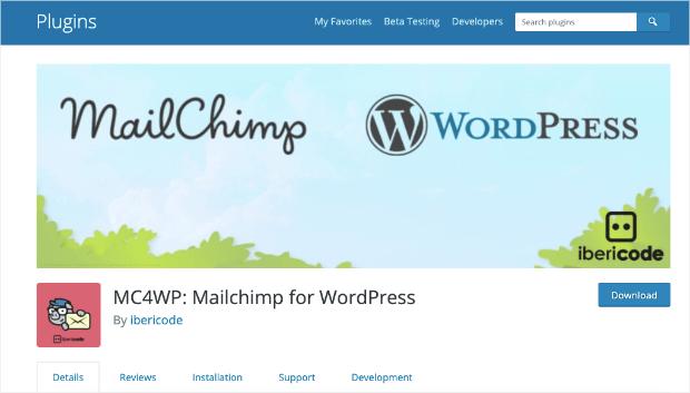 mailchimp for wordpress homepage