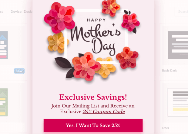 mothers day template from optinmonster