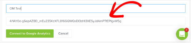 paste authentication token for google analytics