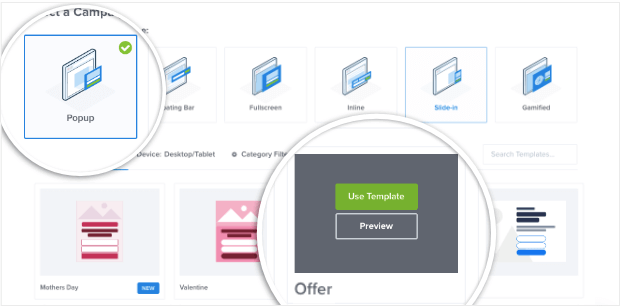 popup offer template in optinmonster