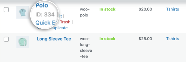 product id in woocommerce