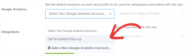 select google analytics account in sites