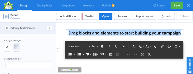 text editor toolbar in optinmonster