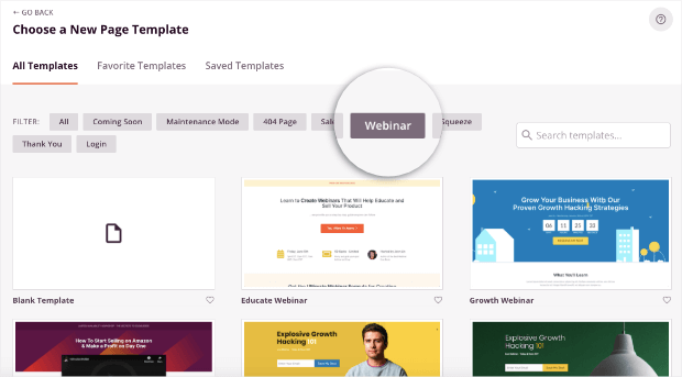 webinar landing page templates from seedprod