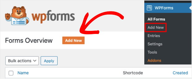 wpforms add new forms