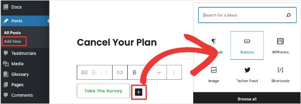 add a button in block editor