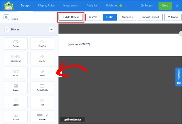 add blocks to optinmonster