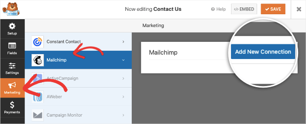 add new connection to mailchimp