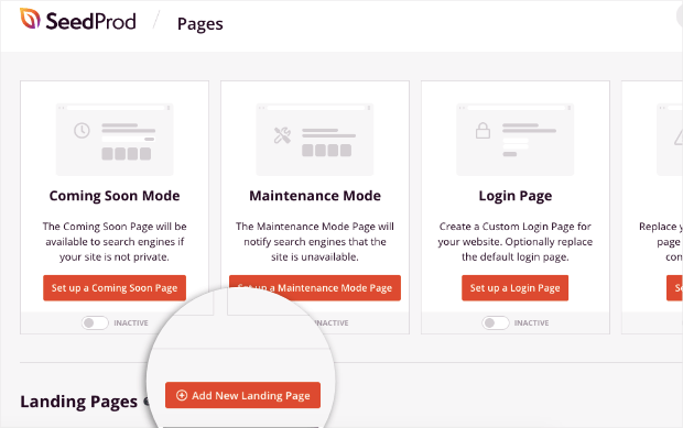 add new landing page for seedprod