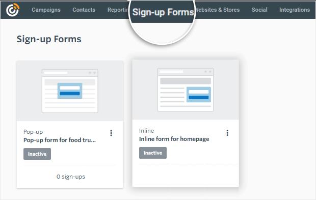 constant contact inbuilt form options