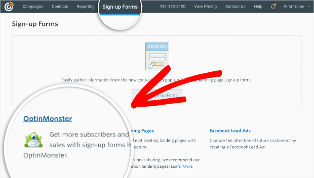 constant contact sign up form page