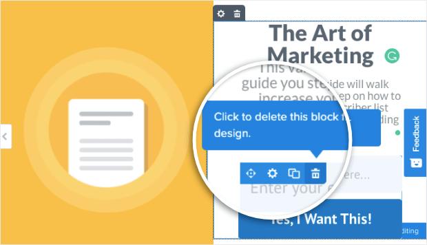 delete block in split