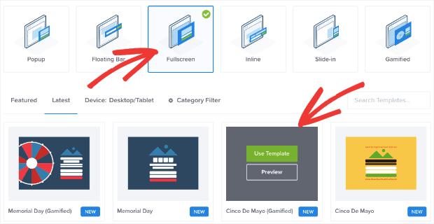 fullscreen mat type and template