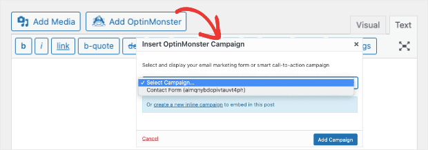 inline campaign embed in classic editor