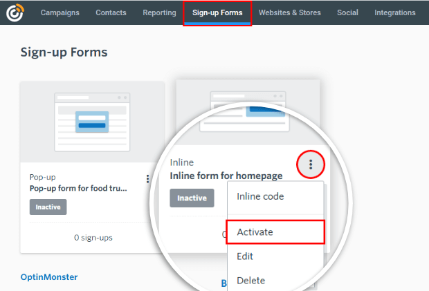 inline form in constant contact