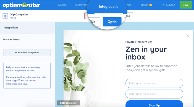 integrations in your optinmonster account