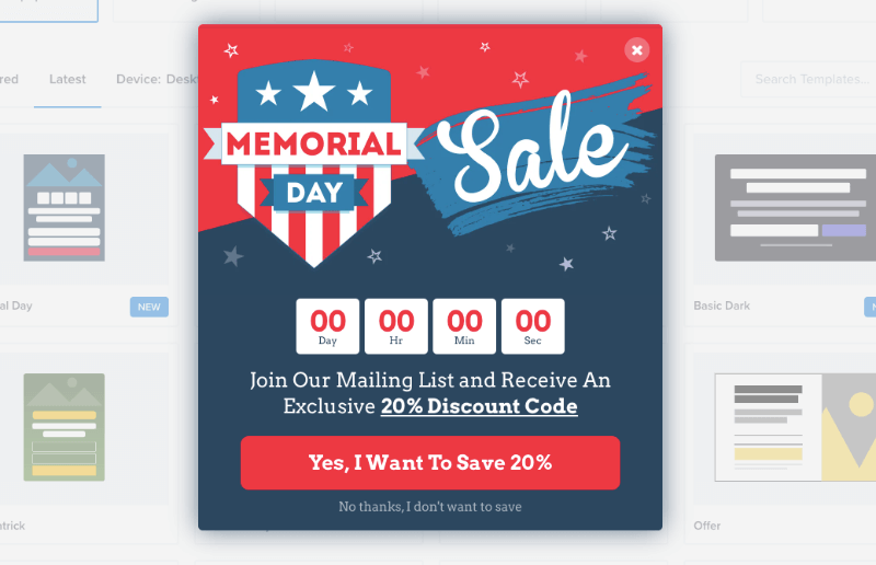 memorial day template for optinmonster