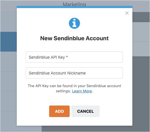 new sendinblue account for wpforms