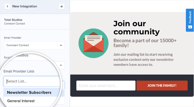 newletter subscribers list in om integration