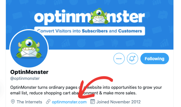 optinmonster twitter page