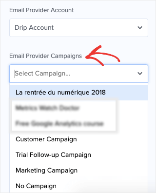 select email provider campaigns