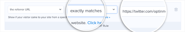 select exact url in referral detection