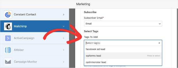 select tag in wpforms